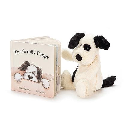 Conjunto Regalo: Jellycat Libro ´Libro Scruffy Puppy´y Peluche Basful Cachorro
