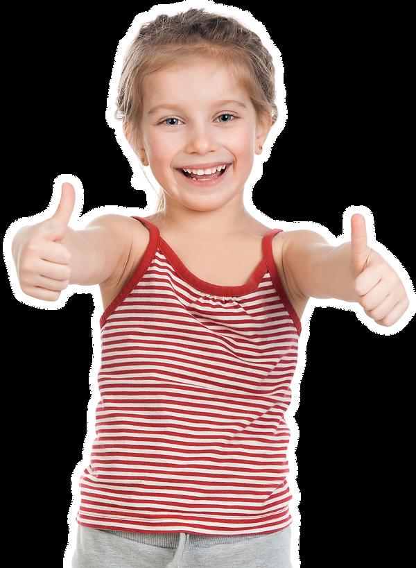 happy girl learning gymnastics