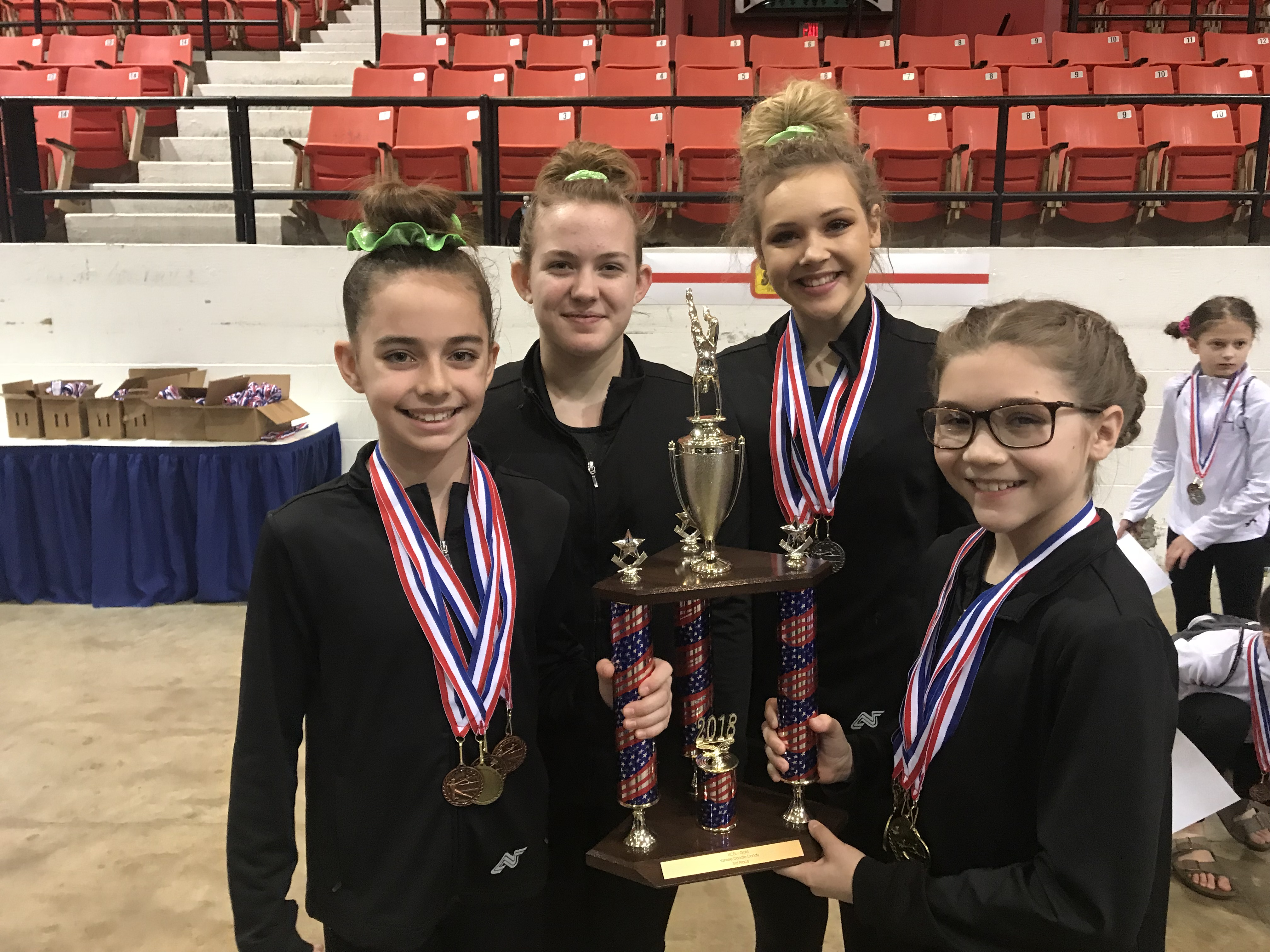 Competition girls holding a trophy