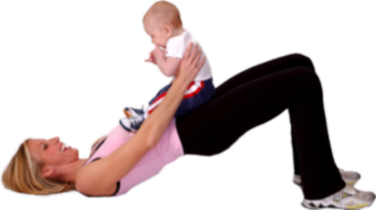 mom and baby doing gymnastics