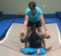 special need boy on trampoling