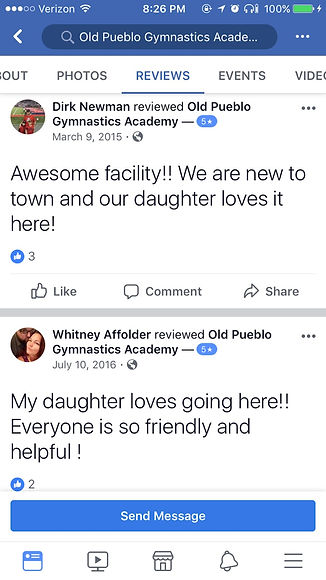 reviews of old pueblo gymnastics academy