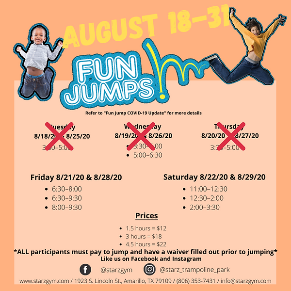 We will be closed for Fun Jumps Tues 8_2