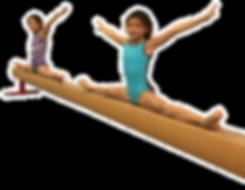 gymnasts doing splits on beam
