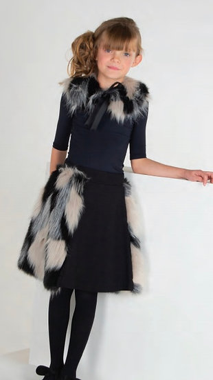 Rose Fur Skirt with Collar