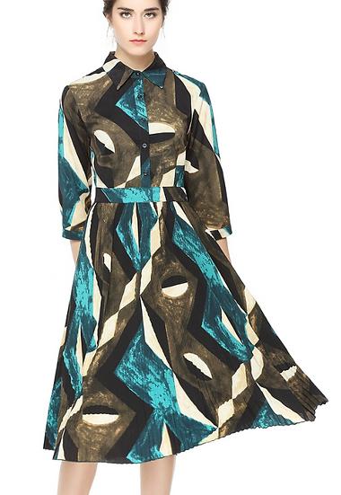 Miss Finch Green Collar Dress