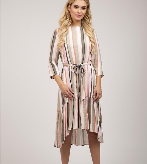 Pink Stripe Asym Dress