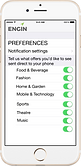 iPhone mobile phone showing preference settings