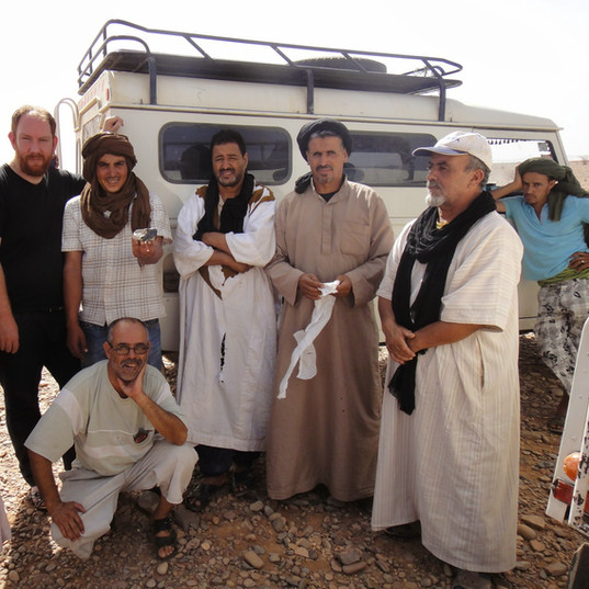 On the Tirhert strewnfield, with local guys