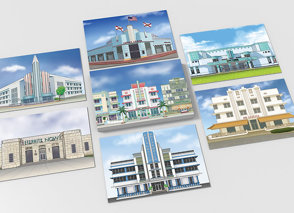 Miami Beach Art Deco Postcards - Set of 10