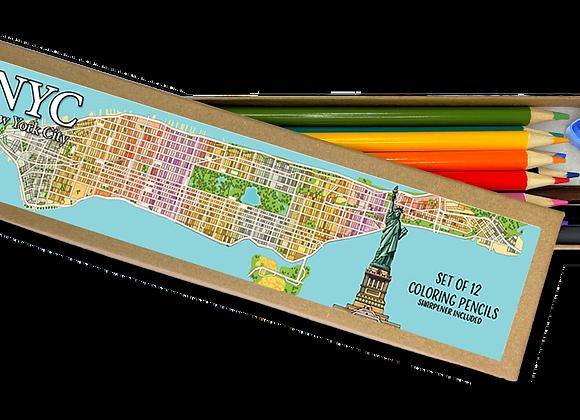 New York City Coloring Pencil Set