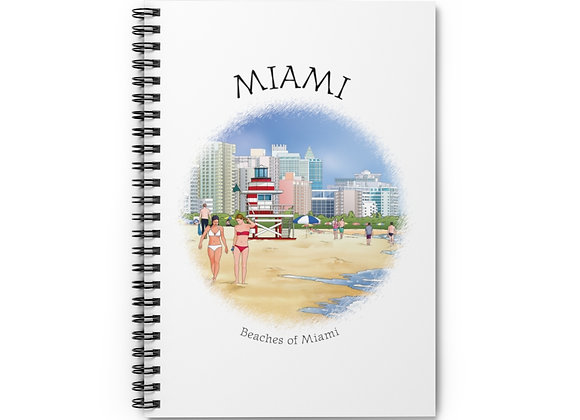 Beaches of Miami Spiral Notebook