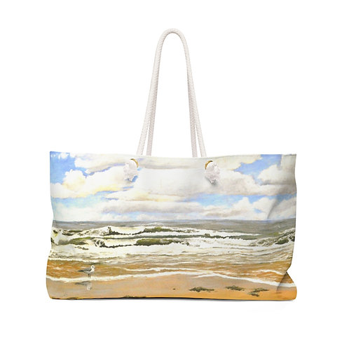 """Weekender Bag - """"Seagull on the Beach"""" by Don Wilson"""