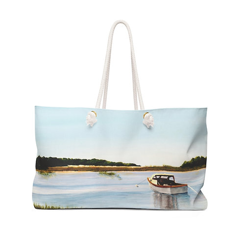 """Weekender Bag - """"Waiting to Go Fishing"""" by Don Wilson"""