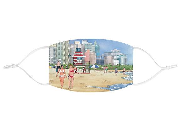 Beaches in Miami Fabric Face Mask