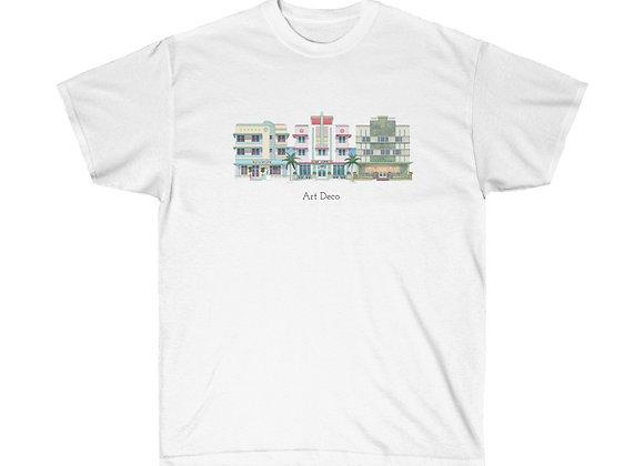 Miami Beach Art Deco Unisex Cotton Tee