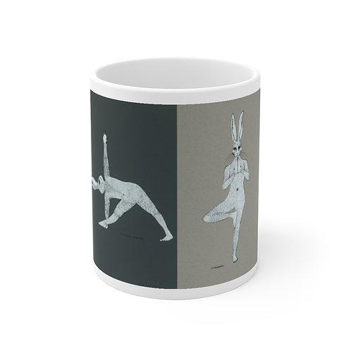 Mug 11oz - Yoga Bunnies - Grey Tones
