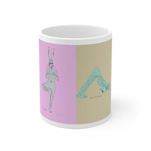 Mug 11oz - Yoga Bunnies - Washed Out Tones