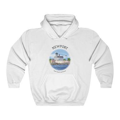 Rose Island Lighthouse Unisex Hooded Sweatshirt