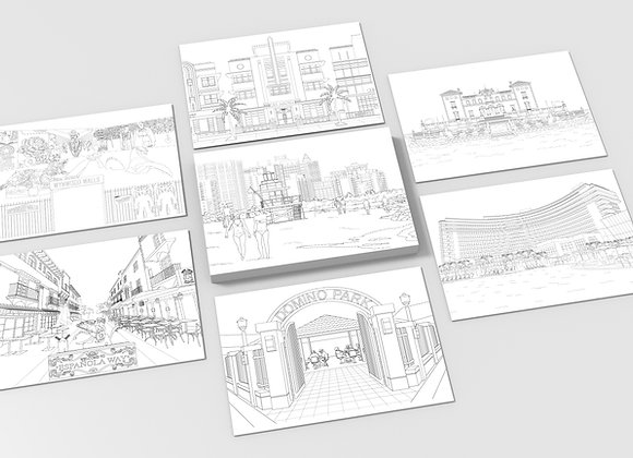 Miami Coloring Postcards - Set of 10