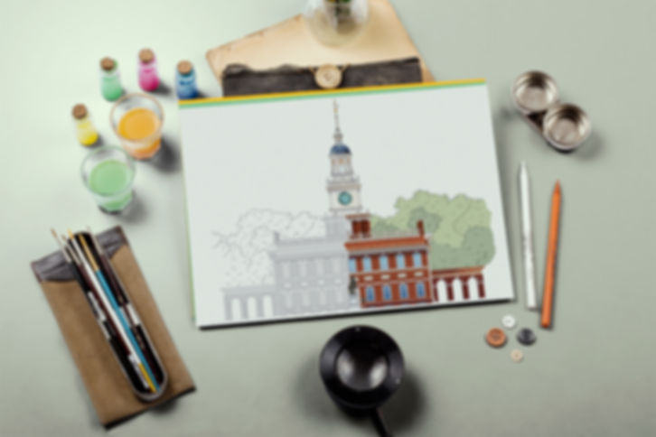Independence Hall painted