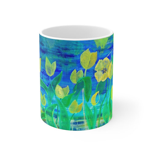 "11oz Mug - ""Field of Yellow"" by Helen M. Weinstein"""