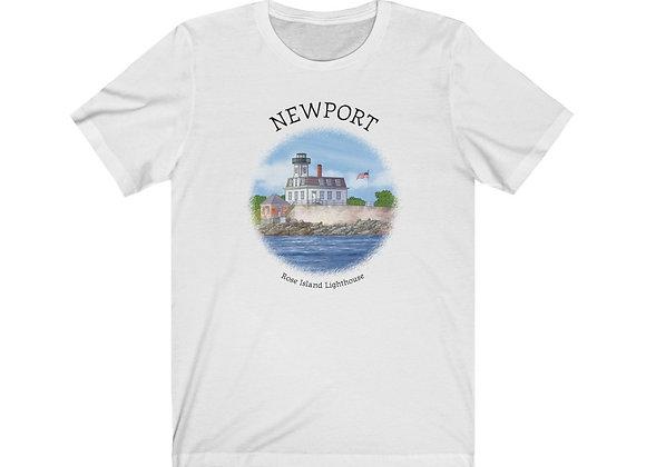 Rose Island Lighthouse - Unisex Short Sleeve Tee