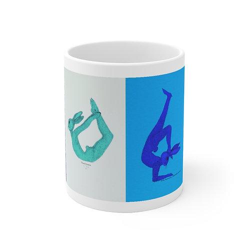11 oz mug - Yoga Bunnies - Cool Tones