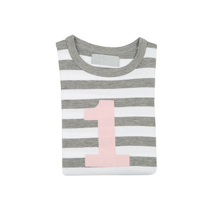 Grey Marl and White Striped Number 1 T-Shirt (Mallow)