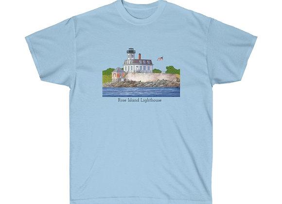 Unisex Cotton Tee - Rose Island Lighthouse