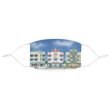 Miami South Beach Art Deco Hotels Face Mask
