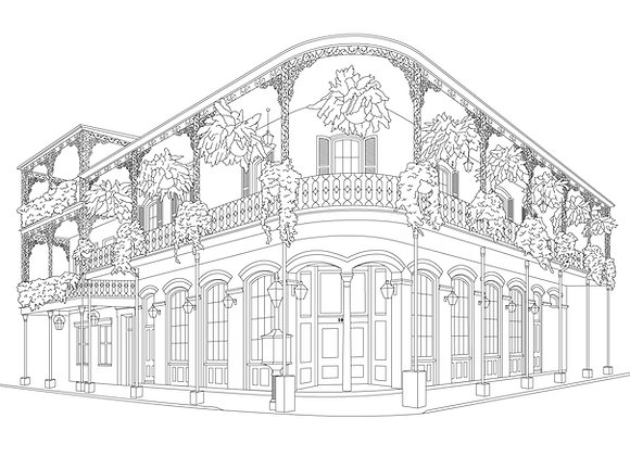 French Quarter Coloring Page