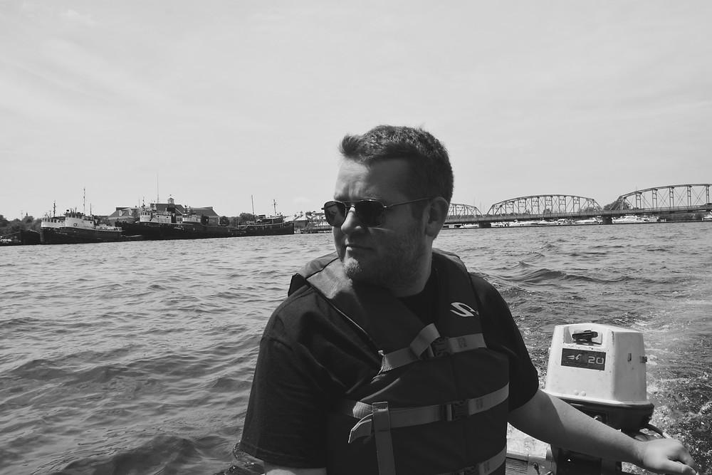 Jake on the boat in Sturgeon Bay