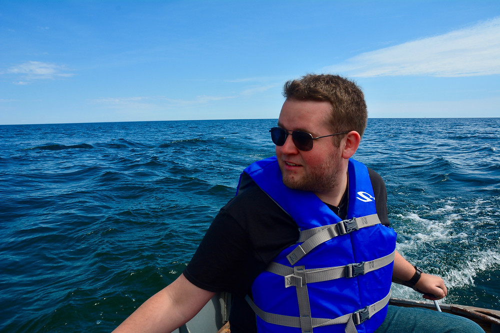 Jake on the boat in Baileys Harbor