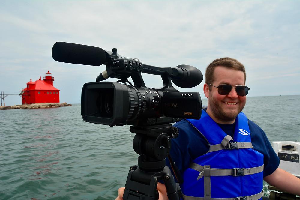 Jake filming off of the Sturgeon Bay Pierhead Light