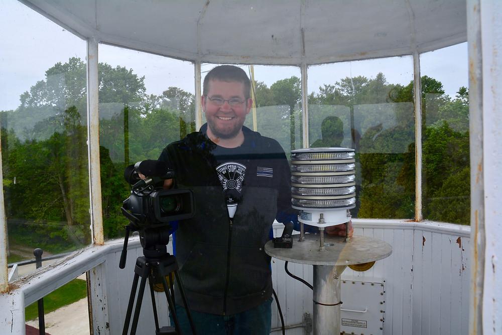 Jake in the lantern of the Sherwood Point Lighthouse - Sturgeon Bay