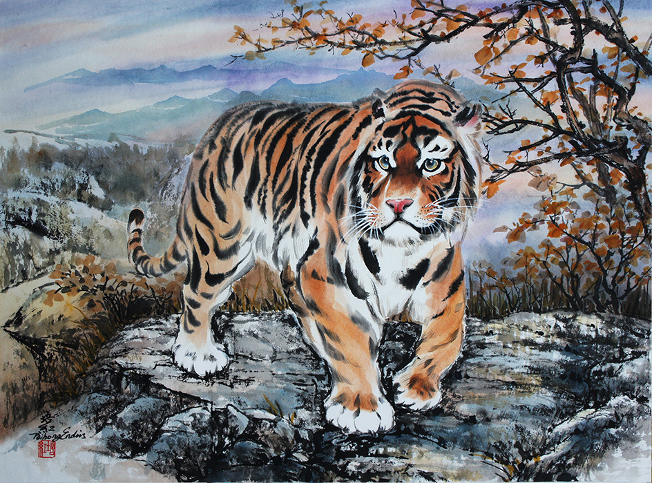 a Tiger walking at the sunset 18 x 24.jp