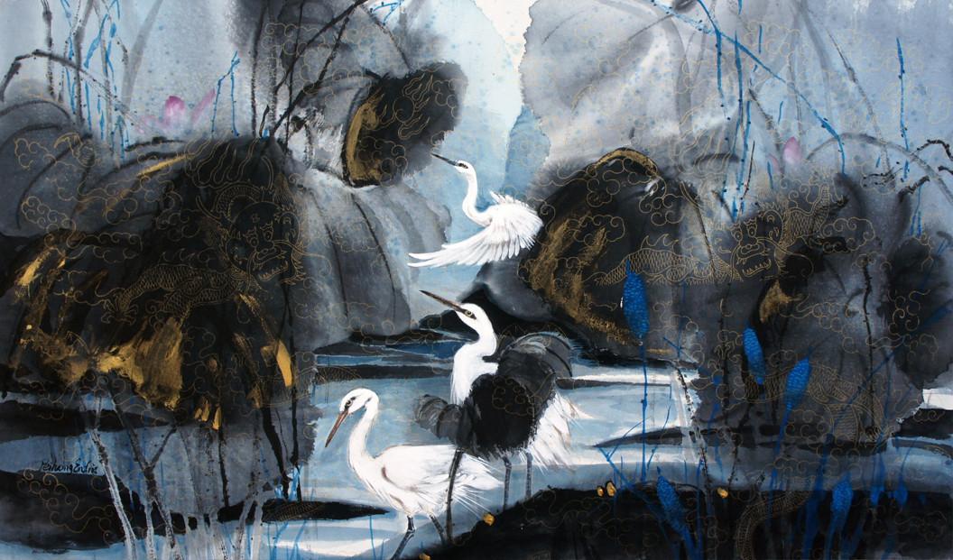 happy lake with three egrets.jpg