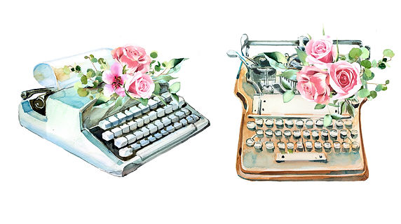 watercolor-vintage-typewriter-with-flowe
