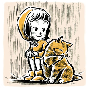 Cat and girl in raining day
