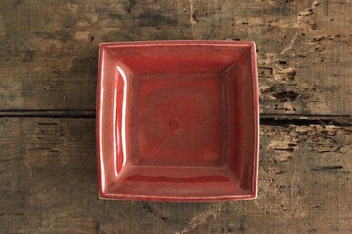 辰砂四角皿
