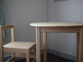 Hinoki En table & cube chair 納品