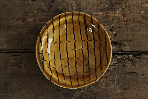 スリップウェア黄釉中浅鉢