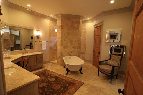 Shower & Bathroom Floor: Travertine Versailles Pattern  Customer went with a Travertine Slab for their bathroom countertops