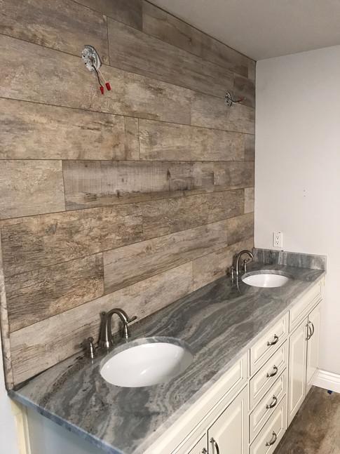 "Bathroom Floor & Accent Wall: 8x48 ""Mirage Noon"" Daylight Porcelain Wood-Look Tile"