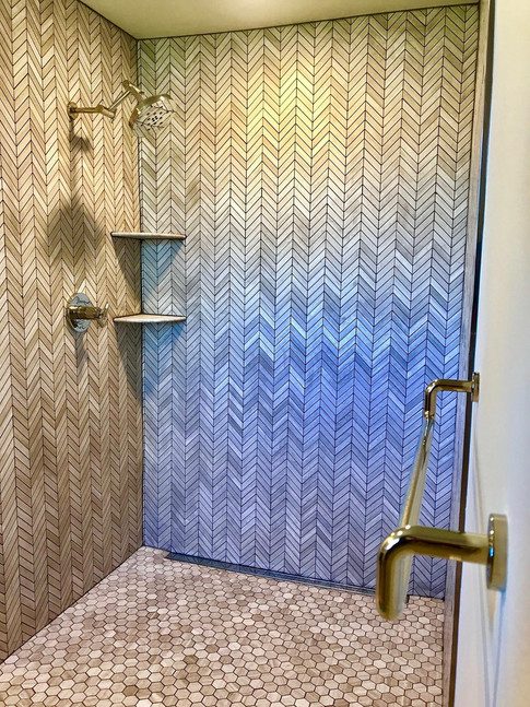 """Shower Wall: """"Wooden White"""" Marble Chevron Pattern  Shower Floor: """"Wooden White"""" Marble Hexagon Pattern"""