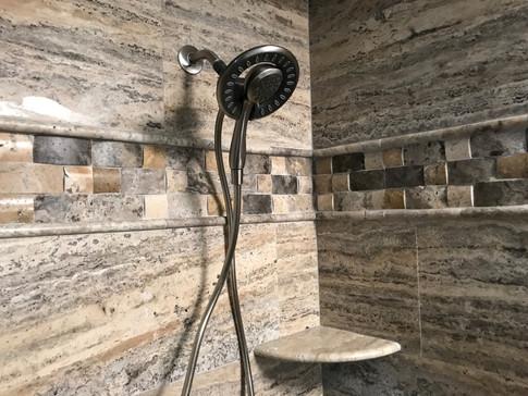 Shower Wall: 12x24 Silverado Travertine Veincut  Band: Silverado Travertine Cambered Mosaic  Trim: 5/8x12 Silverado Travertine Pencil Liner  Silverado Travertine Corner Shelf Also Pictured