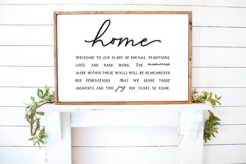Home, Welcome to our place of dreams, Quote Sign SVG files SVG, PNG, DXF, JPG, E