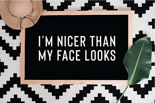 I'm nicer than my face looks SVG, PNG, DXF, JPG, EPS
