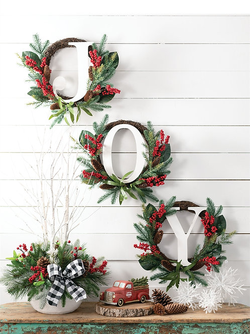 JOY Pine Berry Wreath